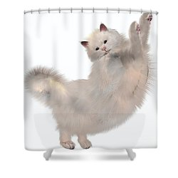 Oriental White Cat Shower Curtain by Corey Ford