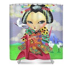 Origami Girl Shower Curtain