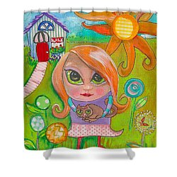 Original Art Girl And The Cat -with Flowers Shower Curtain by Shelley Overton
