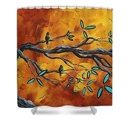 Original Bird Landscape Art Contemporary Painting After The Storm II By Madart Shower Curtain by Megan Duncanson