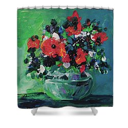 Original Bouquetaday Floral Painting By Elaine Elliott, Blues And Greens, 12x12, 59.00 Incl. Shippin Shower Curtain