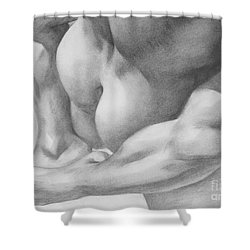 Original Charcoal Drawing Art Gay Interest Men  On Paper #16-3-11 Shower Curtain by Hongtao Huang