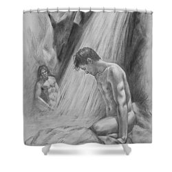 Original Charcoal Drawing Art Male Nude By Twaterfall On Paper #16-3-11-16 Shower Curtain by Hongtao Huang