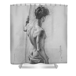 Original Charcoal Drawing Art Male Nude  On Paper #16-3-11-12 Shower Curtain by Hongtao Huang