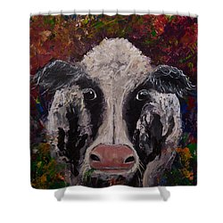Original Colorful Expressionist Cow Painting  Shower Curtain