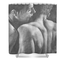 Original Drawing Sketch Charcoal Man Body  Male Nude Gay Interest Man Art Pencil On Paper -0029 Shower Curtain by Hongtao     Huang