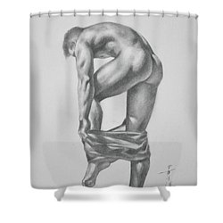 Original Drawing Sketch Charcoal Pencil Gay Interest Man Art  On Paper #11-17-14 Shower Curtain by Hongtao     Huang