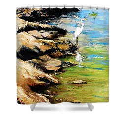 Original Fine Art Painting Pool Edge Gulf Coast Florida Shower Curtain
