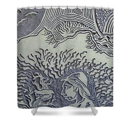 Original Linoleum Block Print Shower Curtain by Thor Senior