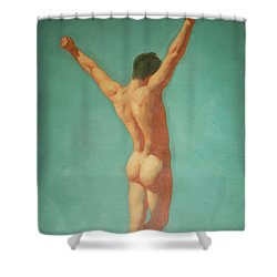 Original Male Nude Oil Painting Gay Boy Art On Linen-0022 Shower Curtain