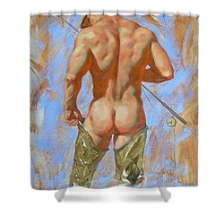 Original Oil Painting Art Male Nude Fisherman On Linen #16-2-20 Shower Curtain