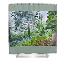 Shower Curtain featuring the painting Original Watercolor - Summer Pine Forest by Cascade Colors