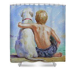 Original Watercolour Painting Nude Boy And Dog On Paper#16-11-18 Shower Curtain