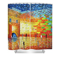 Shower Curtain featuring the painting Original Western Wall Jerusalem Wailing Wall Acrylic 2 Panels by Georgeta Blanaru