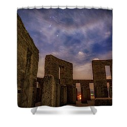 Shower Curtain featuring the photograph Orion Over Stonehenge Memorial by Cat Connor