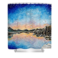 Shower Curtain featuring the painting Orion Over Tahoe Winter by Matt Konar