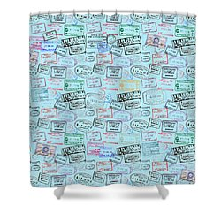 Shower Curtain featuring the mixed media World Traveler Passport Stamp Pattern - Light Blue by Mark Tisdale