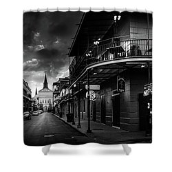 Orleans Street To St Louis Cathedral In Black And White Shower Curtain