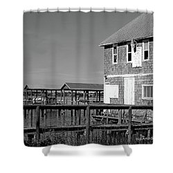 Ormond Yacht Club Black And White Shower Curtain by DigiArt Diaries by Vicky B Fuller