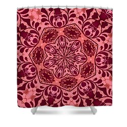 Shower Curtain featuring the digital art Ornamental Romance Medallion by Angelina Vick
