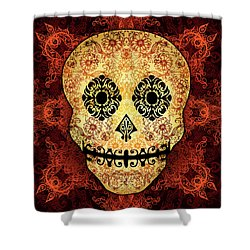 Ornate Floral Sugar Skull Shower Curtain by Tammy Wetzel