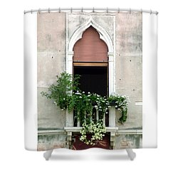 Shower Curtain featuring the photograph Ornate Window With Red Shutters by Donna Corless