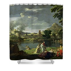 Orpheus And Eurydice Shower Curtain by Nicolas Poussin