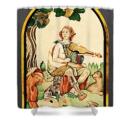 Shower Curtain featuring the mixed media Orpheus by Asok Mukhopadhyay