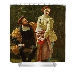 Orsino And Viola Shower Curtain by Frederick Richard Pickersgill