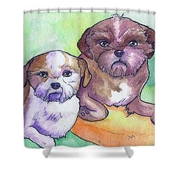 Oscar And Max Shower Curtain by Whitney Morton
