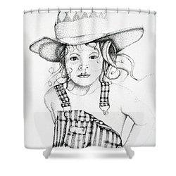 Shower Curtain featuring the drawing Osh Kosh by Mayhem Mediums