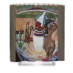 Blaa Kattproduksjoner         Osiris With Goddess Isis And 4 Grandkids Shower Curtain