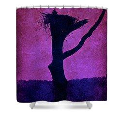 Osprey Nest Silhouette - Manasquan Reservoir Shower Curtain by Angie Tirado