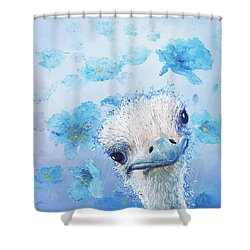 Ostrich In A Field Of Poppies Shower Curtain by Jan Matson