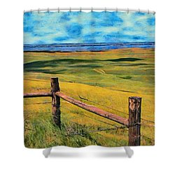 Shower Curtain featuring the painting Other Side Of The Fence by Jeff Kolker