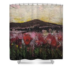 Shower Curtain featuring the painting Other World 3 by Ron Richard Baviello