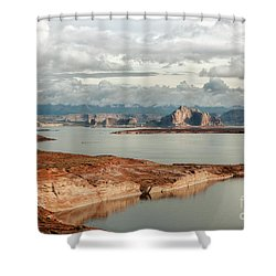Otherworldly Morning At Lake Powell Shower Curtain by Sandra Bronstein