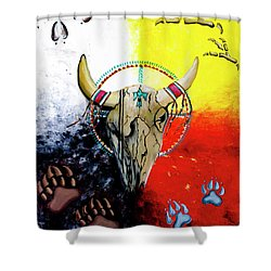 Shower Curtain featuring the painting Ottawa Medicine Wheel by Ayasha Loya