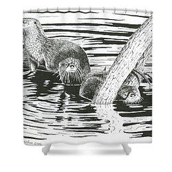 Otters Three Shower Curtain