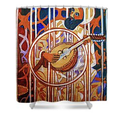 Shower Curtain featuring the painting Oud - Eleven Srings by Denise Weaver Ross