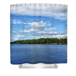 Oulujoki River In Oulu, Finland. Shower Curtain