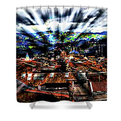 Our City In The Andes Shower Curtain by Al Bourassa