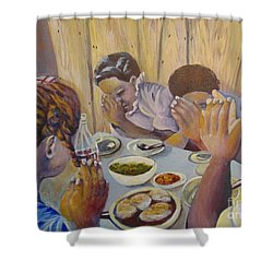 Shower Curtain featuring the painting Our Daily Bread by Saundra Johnson