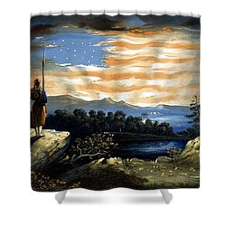 Our Heaven Born Banner Shower Curtain by War Is Hell Store