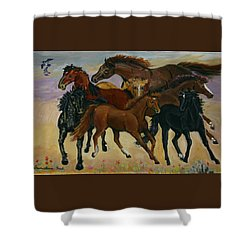 Shower Curtain featuring the painting Our Horses by Dawn Senior-Trask