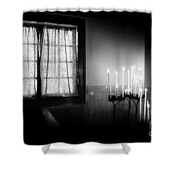 Shower Curtain featuring the photograph Our Lady Chapel Detail In  The Ons' Lieve Heer Op Solder Amsterdan Bw by RicardMN Photography