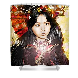Shower Curtain featuring the painting Our Lady Of China by Suzanne Silvir
