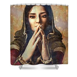 Shower Curtain featuring the painting Our Lady Of Guadalupe by Suzanne Silvir