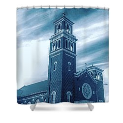 Our Lady Of Sorrows Under Wispy Skies Shower Curtain