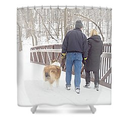 Our Love Will Keep Us Warm Shower Curtain by Larry Ricker